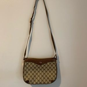 Vintage Gucci Brown Coated Shoulder Bag